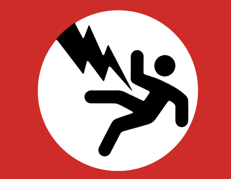 authorisation: Electric Shock Warning Sign - Black Man, Red Boarder, White Background