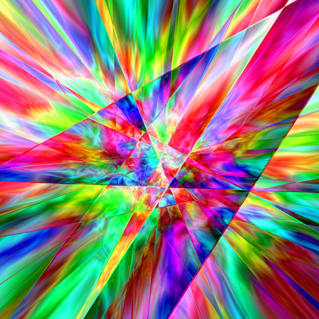 Colourful Psychodelic Prism Abstract With Multiple Colours, Blue, Red, Yellow, Green, Background Graphic Stock Photo - 1697018