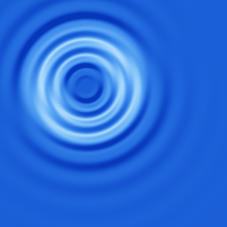 rimpeling: Water Ripple Circles Ob een blauw oppervlak, Top View, Abstract Background