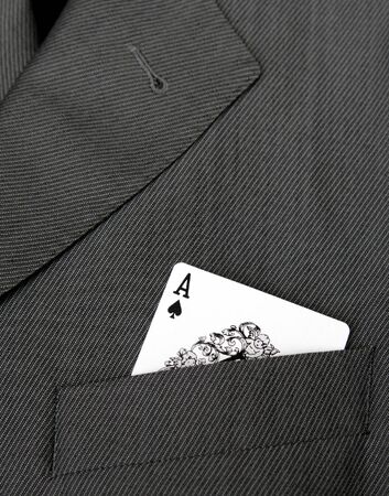 Card Suit - Ace Of Spades Gambling Card In A Suit Jacket Pocket