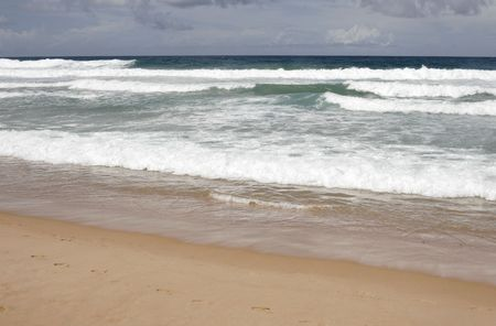 Empty Sand Beach With Ocean Waves At The Pacific Coast, Manly, Sydney, Australia Stock Photo - 1736374