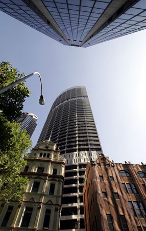 Office Buildings, Wide Angle Perspective View, Looking Up, Sydney, Australia photo
