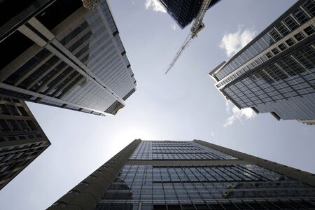 Office Buildings, Wide Angle Perspective View, Looking Up, Sydney, Australia