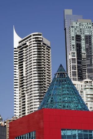 resident: Red Urban City Building With Cone Roof In Sydney, Australia