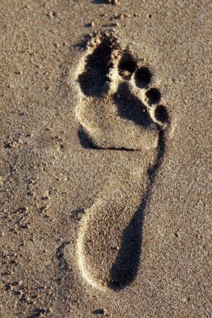 Footprint of the Right Foot Of A Male In The Sand On The Beach Stock Photo - 1777759