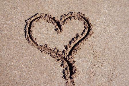 Heart Inscription On A Sand Beach At The Pacific Coast