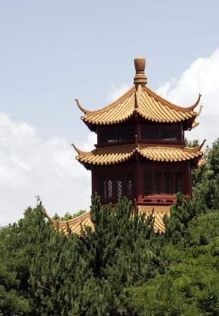 darling: Asian Style Roof, Building In The Chinese Garden. Darling Harbour, Sydney, Australia Stock Photo