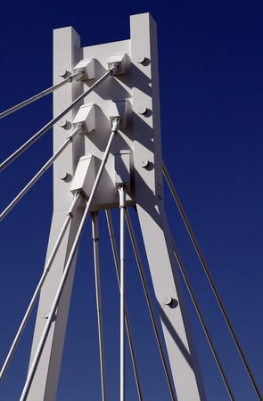 White Bridge Pylon, Steel Cables, Dark Blue Sky, Sydney, Australia Stock Photo - 1777699