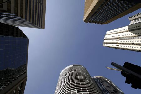 wide angle: Office Buildings, Wide Angle Perspective View, Looking Up, Sydney, Australia