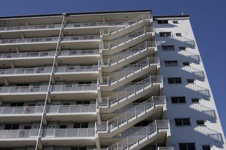 Moderne hoog witte stedelijke residentiële appartement gebouw In Sydney, trappen, trap, Australië Stockfoto - 1929971