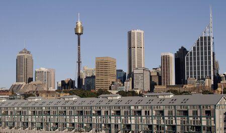 sydney skyline: Sydney City Skyline On A Summer Day, Cityscape, Clear Blue Sky, Australia
