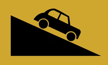going down: Traffic Sign - Black Car Going Down Hill, Yellow background