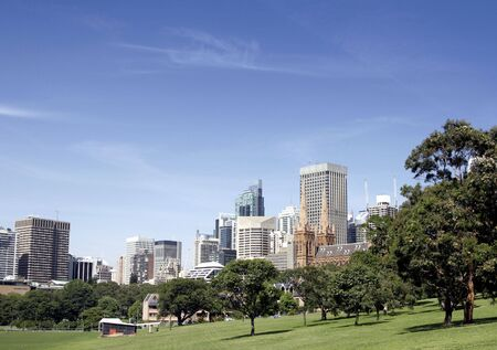 Urban Public Park In Front Of Tall City Office Buildings, Sydney, Australia Stock Photo