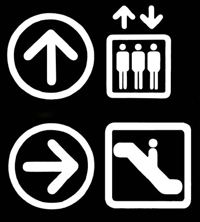 Directions Signs - Elevator, Escalator, Arrows - White On Black, Isolated, Illustration, Clipart, Background Imagens