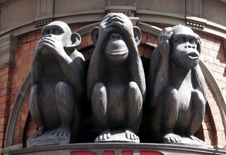 Three Monkeys With Different Faces - No Speak, No See, No Hear
