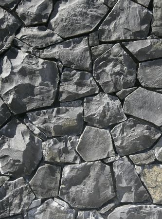 Grey Stone Wall Texture - Background With Many Pieces photo