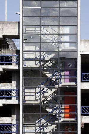 carpark: Staircase In A Carpark, Glass Facade, Sydney, Australia