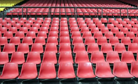 grandstand: Many Empty Seats In Rows In An Outdoor Stadium Stock Photo