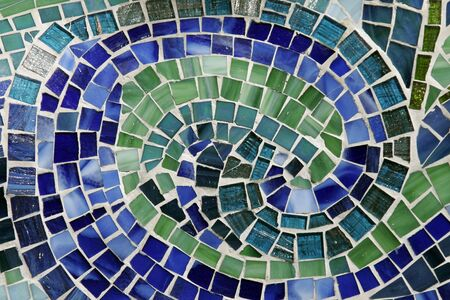 Round Colourful Mosaic Background Made Of Many Little Stones - Green, Blue Stock Photo