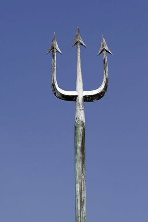 poseidon: Poseidons Trident In Front Of Clear Blue Sky - Part Of A Public Statue in Sydney Stock Photo