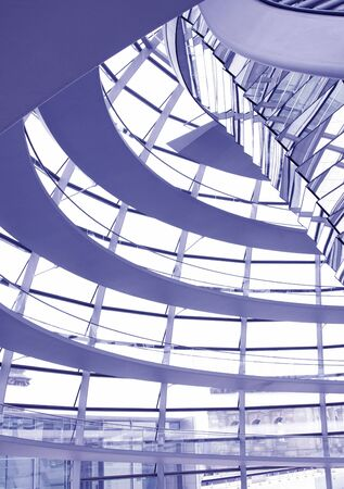copula: Glass Dome Interior Architecture Of The German Parliament Reichstag in Berlin - Blue Toning Stock Photo