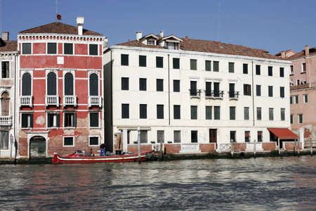 Venice, Italy - Typical Old Building Water Front Facade And Canal Stock Photo - 2407140
