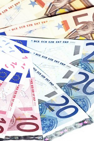 Bunch Of Euro Notes As A Fan, Focus on 20 EUR bottom right Stock Photo