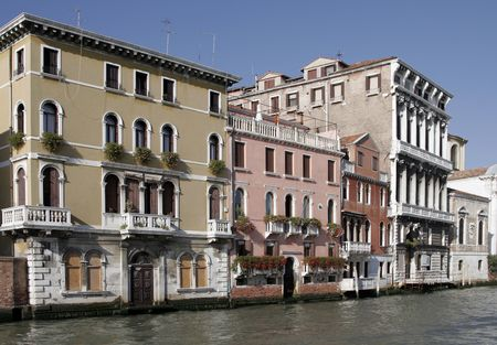 Venice, Italy - Typical Old Building Water Front Facade And Canal Stock Photo - 2407139