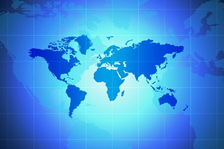 World Map - Global Concept In Blue With Spotlight And Grid Stock Photo - 2432639