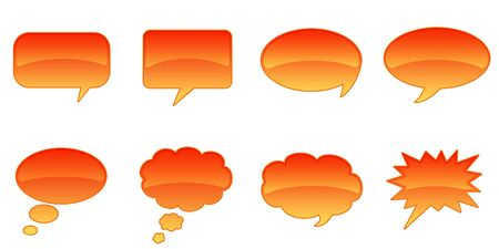 interact: Set Glossy Colourful Speech BubbIe Icons, Comic Symbols Stock Photo