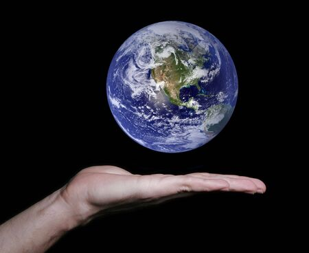 Flat Hand With Floating Earth. Some components of this montage are provided courtesy of NASA, and have been found at http://visibleearth.nasa.gov Stock Photo - 2435534