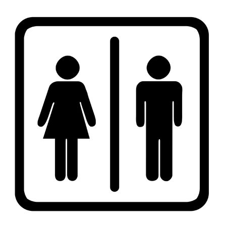 genders: Womens And Mens Toilets Sign, Black On White