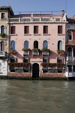 Venice, Italy - Typical Old Building Water Front Facade And Canal Stock Photo - 2435546