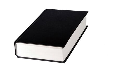 revision book: Thick Book With A Black Blank Cover On A White Background