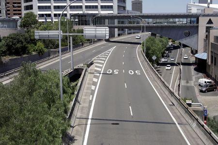 sydney  australia: Empty Highway Road, Markings, 50 Speed Limit Painted On Street, Sydney, Australia