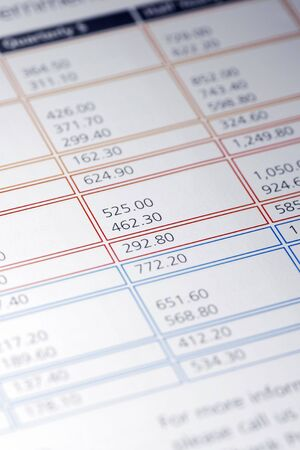 premiums: Colourful Data Table Of Financial Figures, Insurance Premiums, Payments