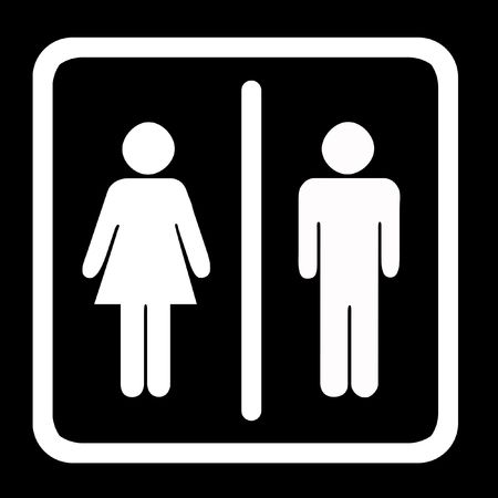Womens And Mens Toilets Sign, White On Black