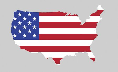 Us Map With Stars And Stripes National Symbol Of The Usa Stock