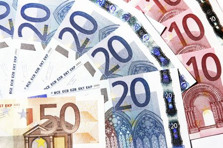 Bunch Of Euro Notes As A Fan, Focus On Front, European Money Stock Photo - 2459819