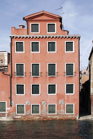 Venice, Italy - Typical Old Building Water Front Facade And Canal Stock Photo - 2494991