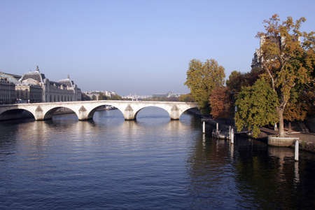 river bank: Seine River Bank, Paris On A Clear Sunny Day  Stock Photo