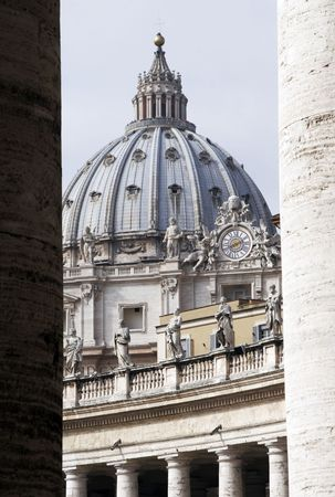 basillica: Dome, Cupola of Saint Peters Basilica Between Two Columns, Rome, Italy, Europe Editorial
