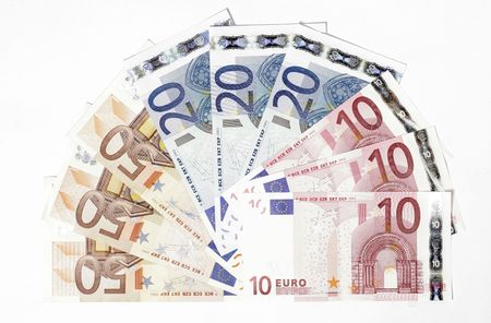 ec: Bunch Of Euro Notes As Fan On A White Background Stock Photo