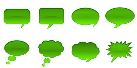 Set Glossy Colourful Speech BubbIe Icons, Internet Web Page Navigation Symbols Stock Photo