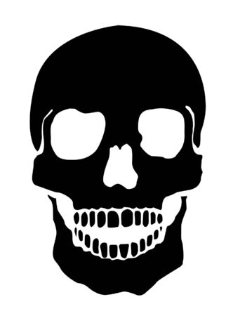 threats: Simple Illustration Of A Human Skull, White Background Stock Photo