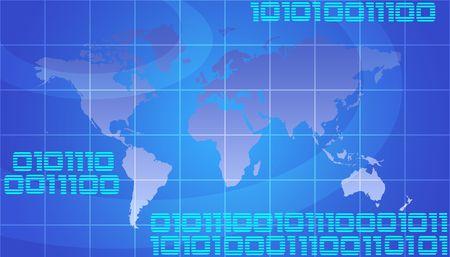 it tech: Binary World - Global Technology Concept In Blue