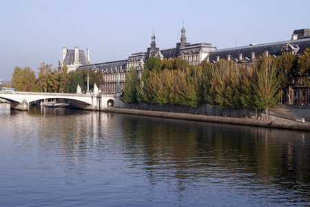 Seine River Bank, Paris On A Clear Sunny Day photo