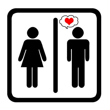 genders: Womens And Mens Toilets Sign With Red Heart
