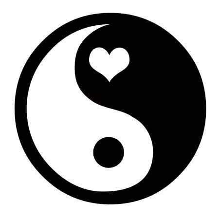 good karma: Asian Yin Yang Symbol With Heart, Coceptual Background