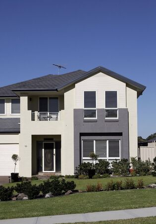 row house: Modern Town House In A Sydney Suburb On A Summer Day, Australia Stock Photo